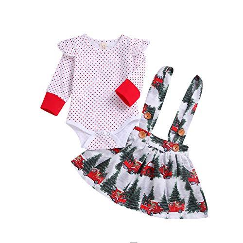 Winter Weekend Dresses (Toddler Baby Girls Spring Skirt Set Long Sleeve Long Sleeved Red Polka Dot Top + Snow Pine Forest Car Print Strap Dress (White, 3-6)