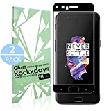 [2 Pack] Oneplus 5 Screen Protector, Rockxdays Tempered Glass Screen Protector [Easy Installation] [Bubble Free] Full Coverage Ultra Clear Film Edge to Edge Protection Shield [black] for Oneplus 5