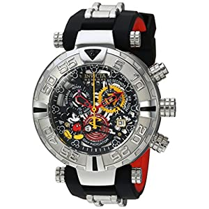Invicta Men's 'Disney Edition' Swiss Quartz Stainless Steel and Silicone Casual Watch, Color:Two Tone (Model: 22733)