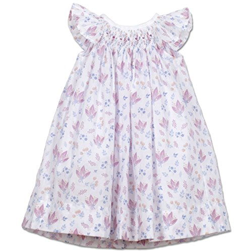 Feather Baby Girls Clothes Pima Cotton Hand-Smocked Angel Sleeve Woven Dress and Bloomer Set, 0-3 Months, Vivian