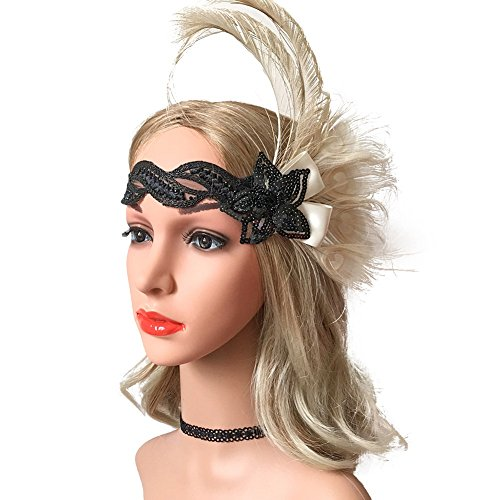 Song Qing Roaring 20's Flapper Feather Sequins Band Headband Vintage 1920s -