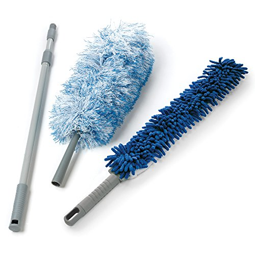 O-Cedar Dual-Action Microfiber Duster Set with Telescopic Handle (Electrostatic Duster)