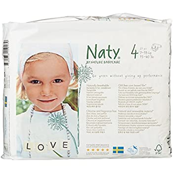 Naty by Nature Babycare Eco-Friendly Disposable Baby Diapers, Size 4, 4 packs of 27 (108 diapers)