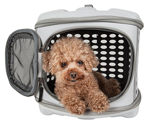 PET LIFE 'Circular Shelled' Perforated Lightweight Collapsible Military Grade Travel Pet Dog Carrier, One Size, Light Grey