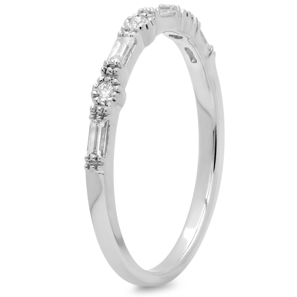0.15 Carat (ctw) 10K White Gold Round & Baguette Diamond Ladies Anniversary Wedding Band (Size 7.5) by DazzlingRock Collection (Image #2)