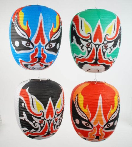 180 Degrees CHINESE OPERA MASK Paper Lanterns Set of 4 NEW Retro Cosplay]()