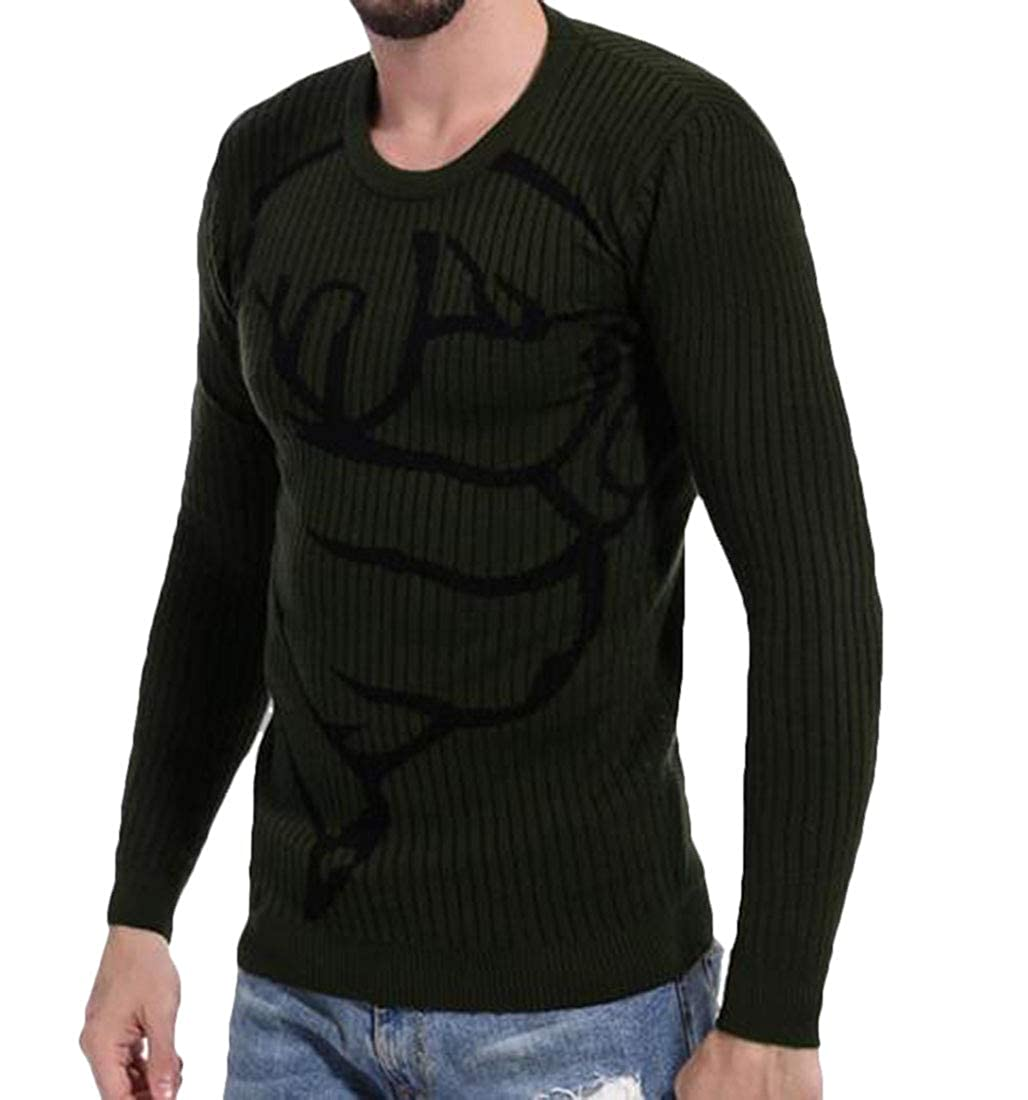 Frieed Men Fashion Printed Striped Long Sleeve Round Neck Pullover Knitting Sweater