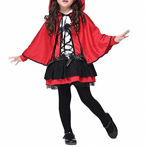 Women Children Kids Halloween Costume Fancy 2pcs Girls Red Little Devil Cosplay Riding Hood Cloak Party Magic Dress
