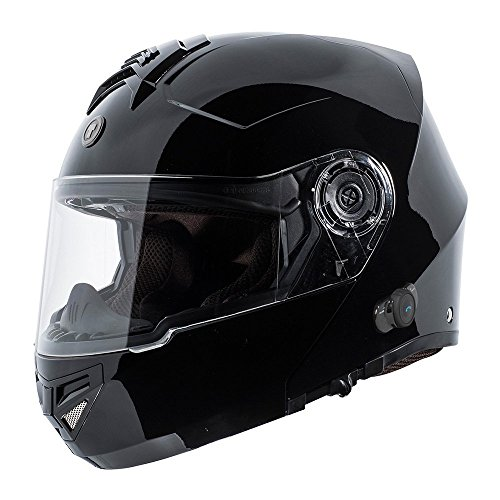 TORC T27 Full Face Modular Helmet with Integrated Blinc Bluetooth (Gloss Black, Medium)