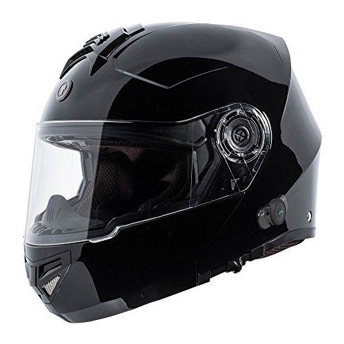 TORC T27 Full Face Modular Helmet with Integrated Blinc Bluetooth (Gloss Black, (Gloss Black Modular Helmet)