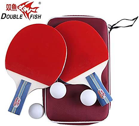 Doble pescado Premium 2 jugadores juego de tenis de mesa – 2 raquetas, 3 pelotas y estuche de viaje: Amazon.es: Deportes y aire libre