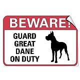 WenNuNa Wall Sticker Beware! Guard Great Dane On Duty Pet Animal Wall Decal Sticker 9x12 Inches