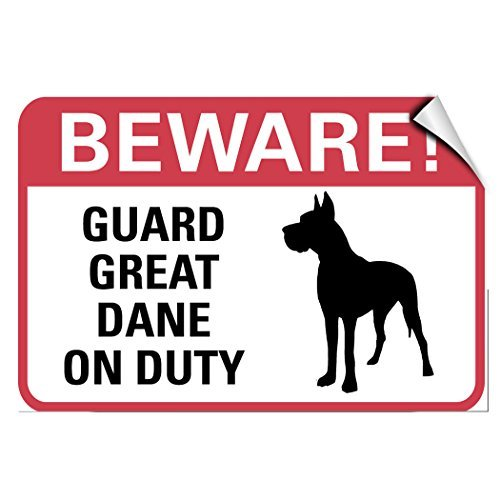WenNuNa Wall Sticker Beware! Guard Great Dane On Duty Pet Animal Wall Decal Sticker 9x12 Inches by WenNuNa