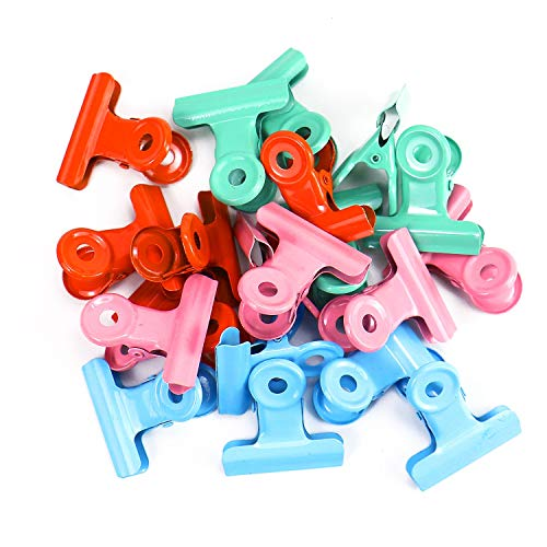 Monrocco 20 pcs 1.1inch Metal Hinge Clips Bulldog Metal Clips for Paper Organizers]()