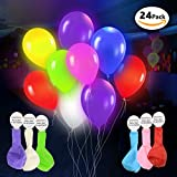 LED Light Up Balloons – 24 Pack - Mixed Colors – Premium Party Lights – Ideal for Parties, Birthdays and Wedding Decorations – Lasts 8-24 Hours – Fillable with Helium, Air, or Water - by DG Sports