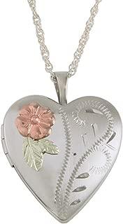 product image for Black Hills Gold on Sterling Silver Heart Locket, 12K Gold Leaves