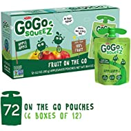 GoGo squeeZ Applesauce on the Go, Apple Apple, 3.2 Ounce (72 Pouches), Gluten Free, Vegan Friendly, Unsweetened Applesauce, Recloseable, BPA Free Pouches (Packaging May Vary)