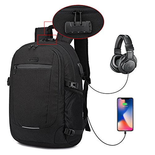 Laptop Backpack, Anti Theft Travel Computer Bag with USB Charging Port Water Resistant Business College School Padded Backpack for Men Women Fits 15.6 Inch Laptop Notebook by Xibonwe Black