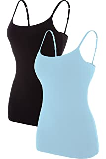 073efa2e4cd2 V FOR CITY Women's Basic Solid Camisole with Shelf Bra Adjustable Spaghetti  Strap Tank Top Pack