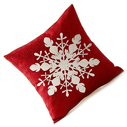 FOOD-MXI Pillow Case - Winter Greetings Ivory Shadow Beautiful Snowflake In Red Merry Christmas Gifts Flax Throw Pillow - Teal Print Taupe John Bieber Embroidery Jumbo Truck 20 18x18 ()