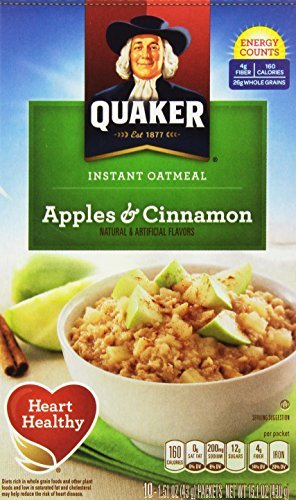Oatmeal Apple (Quaker Instant Oatmeal, Apples & Cinnamon, Breakfast Cereal, 10 Packets)