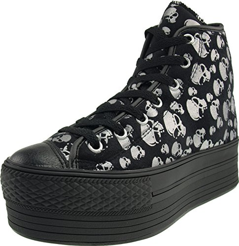 Platform High Silver Shoes Zipper Patterned Sneakers Top fabric Satin Maxstar Skull qwYP7SvxzX