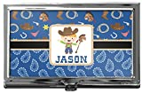 Blue Western Business Card Holder
