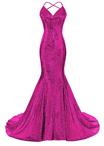DYS Women's Sequins Mermaid Prom Dress Spaghetti Straps V Neck Backless Gowns Fuchsia US 8 ()