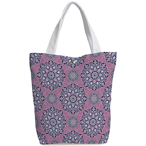 iPrint Canvas Shopping bag,shoulder handbags,Shoulder Bag,Purple Mandala,Middle Eastern Oriental with Ornamental Featured Lines Decorative,Dried Rose Indigo Light Blue,Funky Canvas Tote Bag