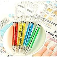 Studyset Crazy Novelty Liquid Filled Syringe Pens Mixed Color As Nurse Doctor Student Gift 4pcs