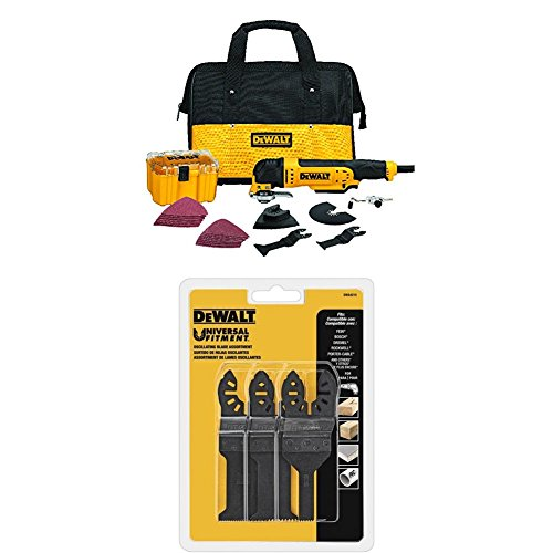 DEWALT DWE315K Multi Material Corded Oscillating Tool Kit with Oscillating Triangular Rigid Scraping Blade