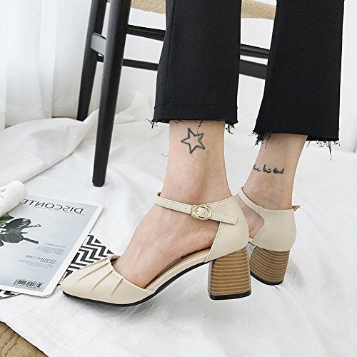 35 Baja Rosado Baotou Mujer Grueso Redondo Femenino Zapatos TYERY con Simple Boca Zapatos de wOqpfgH