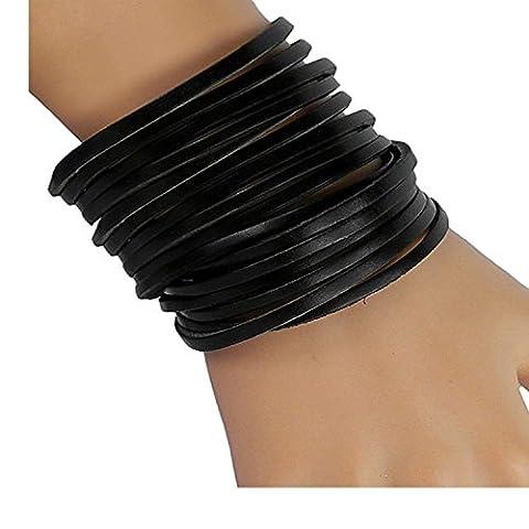 20 Circle Black Unisex Genuine Leather Wrap Bracelet Fashion Punk Girls Link Multilayer Cuff - Unisex Black Leather