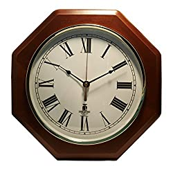 Chicago Lighthouse 12-Inch Octagon Quartz Clock, Mahogany