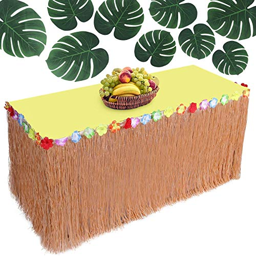 Hawaiian party decorations Luau Grass Table Skirt – Raffia Table Skirting with Colorful Flowers, Large Tropical Palm Leaves - Beach & Jungle Themed Buffet Table Tiki Supplies
