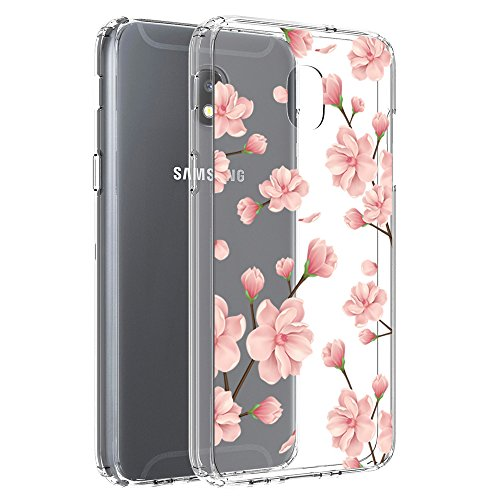 Samsung Galaxy J7 2018/J7 Aero/J7 Aura/J7 Crown/J7 Top J737T/J7 Refine/J7 Eon/J7 Star Case, Vinve [Crystal Clear] Cover Clear Hard Back Panel + TPU Bumper Slim Case (Peach Blossom)