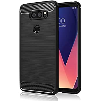 LG V30 case, LG V30 Plus case - Suensan TPU Shock Absorption Technology Raised Bezels Protective Case Cover for LG V30+ (TPU Black)