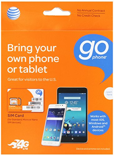 AT&T 3-in-1, Triple Cut Universal SIM Card Starter Kit for GoPhone Devices (No Annual Contract) packaging may vary (Setup App Store Account Without Credit Card)