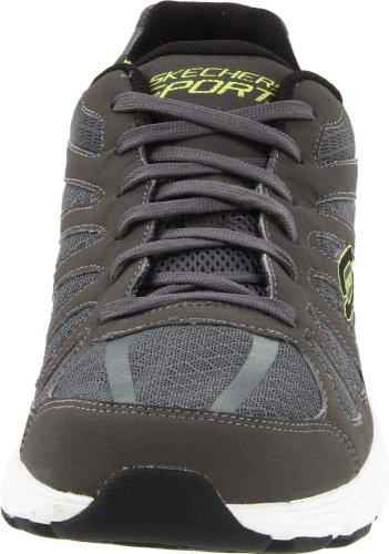 Skechers Sport Mens Asso Outrun Lace-up Sneaker Grigio / Lime