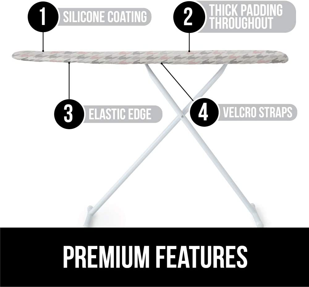 Elastic Edge Covers Thick Padding No Fasteners Needed Gray Floral Gorilla Grip Reflective Silicone Ironing Board Cover 15x54 Pads Resist Scorching and Staining Fits Large and Standard Boards