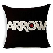 """E-gift Cotton Linen Decorative Throw Pillow Case Cushion Cover Arrow Oliver Queen 18 """" X 18 """""""