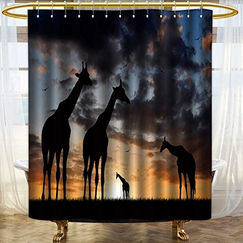 aolankaili Mildew Resistant Long Shower Curtain Herd of Giraffes in The Setting Sun Waterproof Water-Repellent /W72 x L84 - Savona Iron