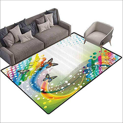 - Printed Mats for Children Bedroom Colorful Home Decor,Trippy Flying Butterflies with Color Comet Bubbles Creative Fantasy Design,Multi 80