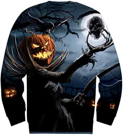 Kingfansion Sweatshirts for Men Halloween 3D Printing Long Sleeve Casual Plus Size Crew Neck Pullover Tops
