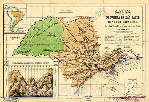 Historic 1886 Map   Mappa da provinica de São Paulo 65in x 44in