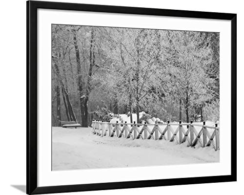 ArtEdge Winnipeg Manitoba, Canada Winter Scenes Keith Levit, Black Framed Matted Wall Art Print, 24x32 in (Canada Winter Manitoba Scenes Winnipeg)