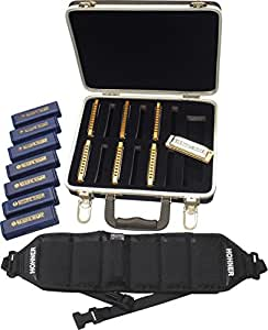 Hohner PPBH Prepack Blues 7 Harmonicas with HB6 Harp Belt and C-12 Travel Case