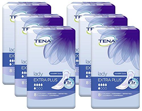 TENA Lady Extra Plus, Einlagen für mittlere Blasenschwäche / Inkontinenz - Vorteilspack (48 Hygiene-Einlagen einzeln verpackt)