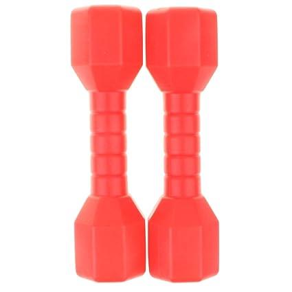 perfeclan 1 Par Pesas Mancuernas Plásticas de Ejercicio y Fitness Juquete Eduvativo para Niños - rojo