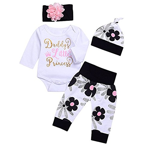 Cute 4PCs Newborn Kids Baby Girl Daddy Little Princess Romper + Flowers Pants + Hat + Headband Outfit Set (6-12 Months)